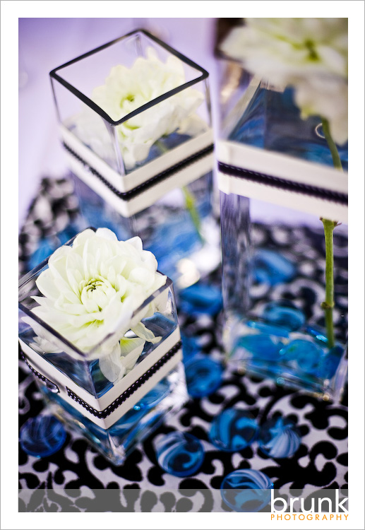 Centerpiece of the Week Blue Black and White Wedding