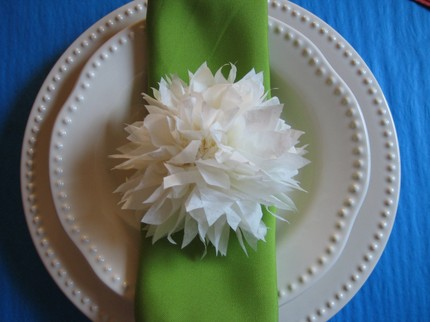 I love these pom poms used as napkin decor A lovely little detail to add to