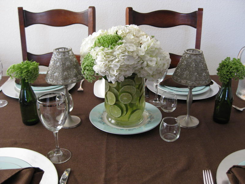 Centerpiece of the Week Green and White Wedding Flowers and Limes