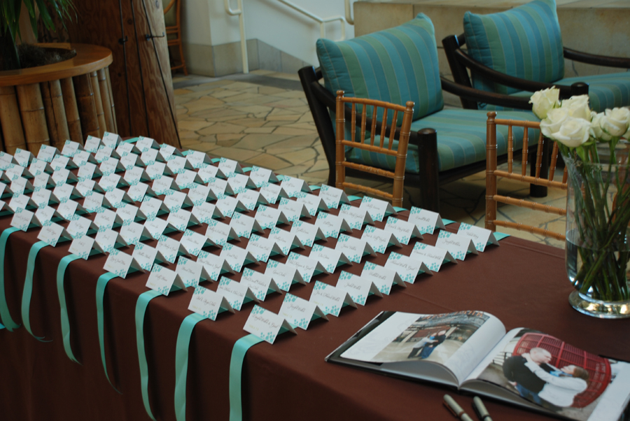 Brown And Teal Wedding Ideas: San Francisco Wedding Planner » Escort Cards